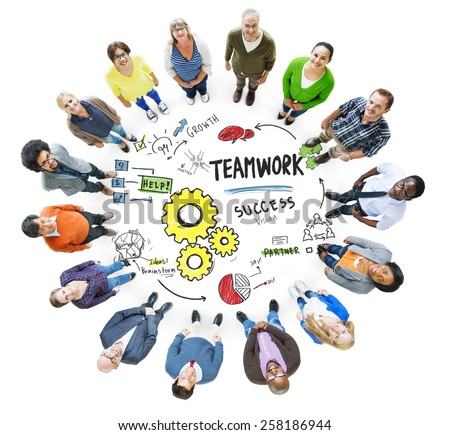 Teamwork Team Together Collaboration Meeting Looking Up Concept - stock photo