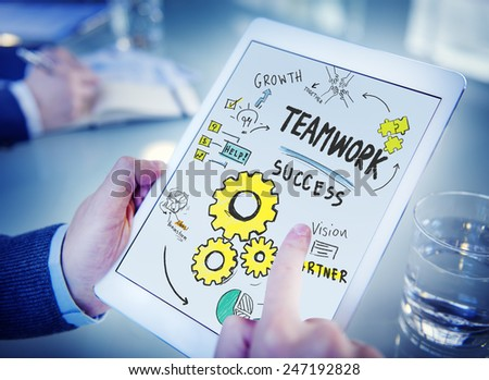 Teamwork Team Together Collaboration Technology Browsing Office Concept - stock photo