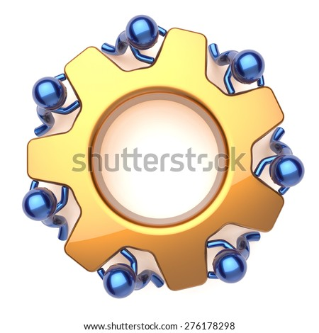 Teamwork team work business process workers turning gear together. Partnership manpower cooperation men community make activism efficiency concept. 3d render isolated on white - stock photo