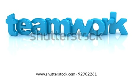 teamwork text 3d isolated over white background