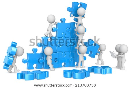 Teamwork. The dude x 9 building large puzzle from blueprint. Blue. - stock photo