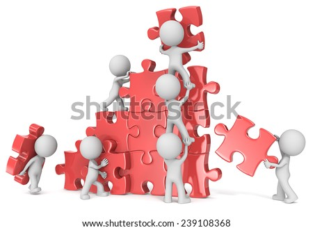 Teamwork. The dude x 7 building large puzzle. Red. - stock photo