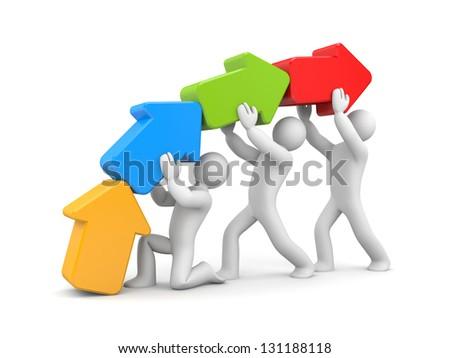 Teamwork to success - stock photo