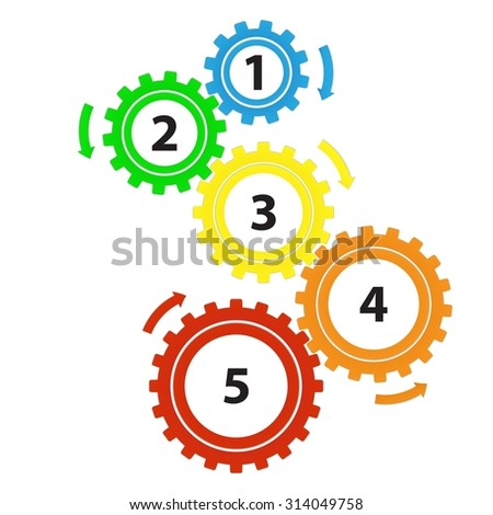Teamwork / Value Chain - 5 Bright Cogwheels with Arrows, Infographic on a white background - stock photo