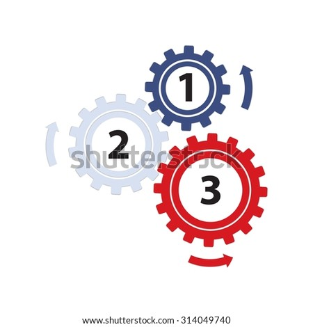 Teamwork / Value Chain - 3 Gearwheels with Arrows, Infographic on a white background - stock photo