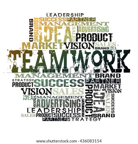Teamwork Word Cloud Concept. Different Words on white background  - stock photo