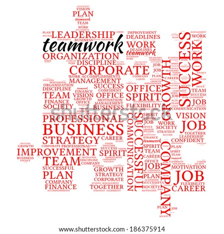 Teamwork word cloud concept isolated