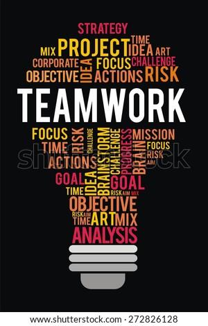 teamwork word in lightbulb shape concept - stock photo