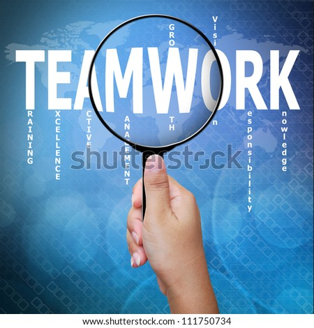 Teamwork, word in Magnifying glass ,Business concept - stock photo