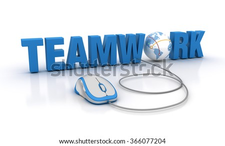 TEAMWORK Word with Globe Earth and Computer Mouse - High Quality 3D Render - stock photo