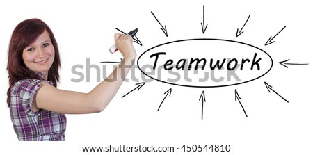 Teamwork - young businesswoman drawing information concept on whiteboard.  - stock photo