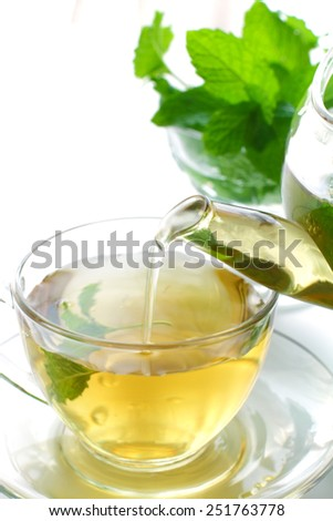 Teapot and cup of tea with mint on a white background. - stock photo