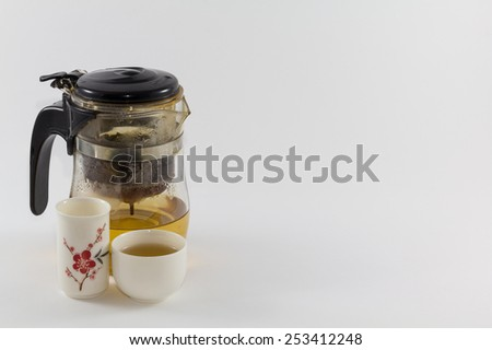 Teapot and glass set with isolate background.