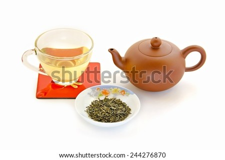 Teapot and green tea food background. - stock photo