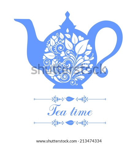Teapot. Beautiful background with teapot and place for your text. Menu for restaurant, cafe, bar, tea-house.  illustration - stock photo