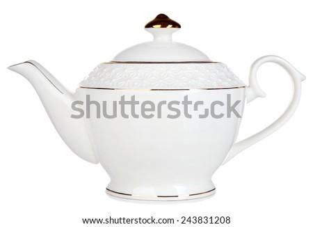Teapot isolated on white - stock photo