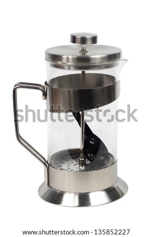 teapot kettle glass tea shiny metal isolated clipping path