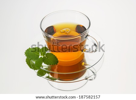 teapot tea with mint peppermint leaf hot drink aroma isolated on white background with reflection