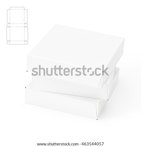 Tear Off Slim Square Box 3D Rendering with Blueprint Template