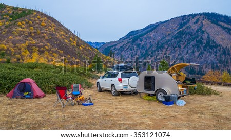 teardrop trailer, camping - stock photo