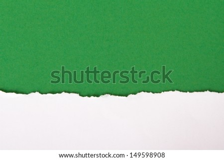 Teared, ripped paper on green background. - stock photo