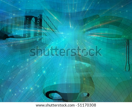 Tearful Statue and city - stock photo