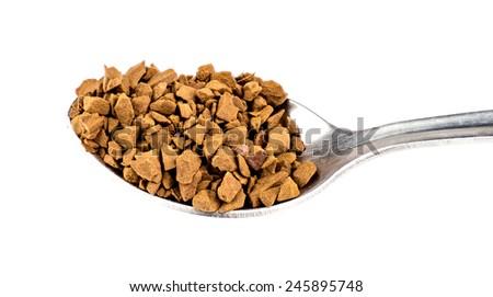 Teaspoon of instant coffee - stock photo