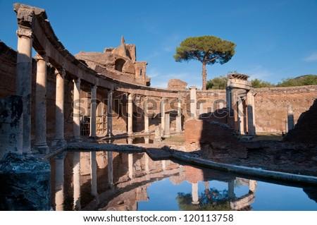 Teatro Marittimo at Villa Adriana in Tivoli - Roma - Italy - stock photo