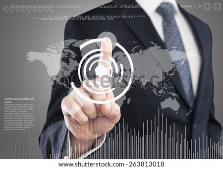 Tech. Business woman pointing her finger on virtual button on world map - stock photo