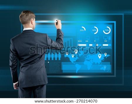 Tech. Businessman presses interface, high resolution - stock photo