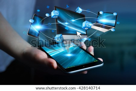 Tech devices and icons applications connected to businesswoman mobile phone 3D rendering' - stock photo