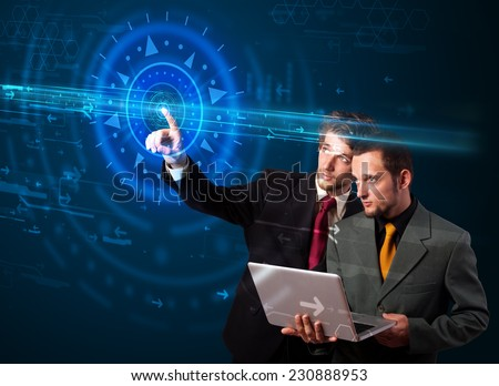 Tech people pressing high technology control panel screen concept