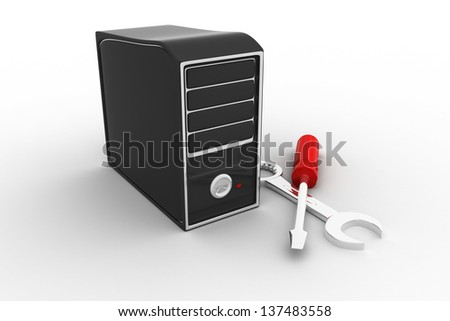 Tech support concept. Isolated on white background. 3d rendered. - stock photo