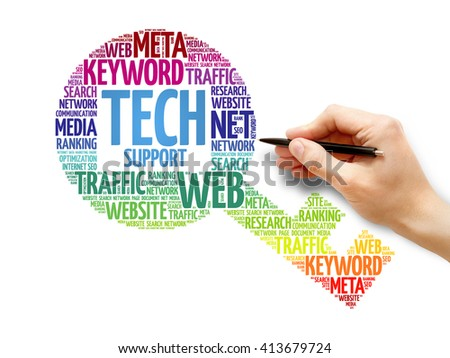 Tech support Key word cloud, business concept - stock photo