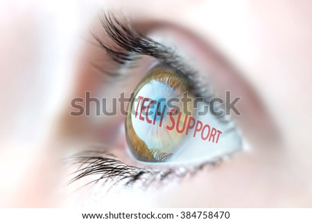 Tech Support reflection in eye. - stock photo