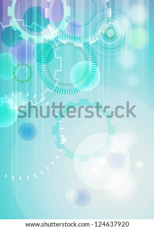 Technical abstract turquoise background with shiny transparent circles in vertical format (see eps version in my portfolio) - stock photo