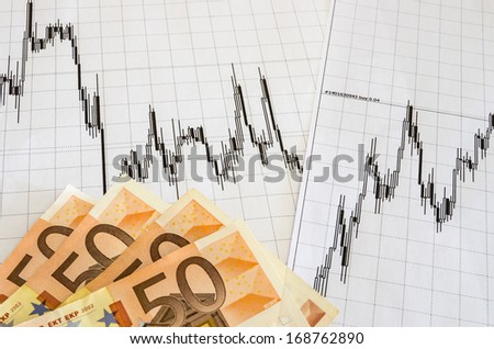 Technical analysis graphics and money - stock photo