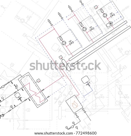 Engineering drawing modern mechanics blueprints vector stock technical blueprint of steamshop illustration engineer projection architecture and reconstruction templates white background malvernweather Images