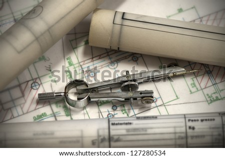 technical design and compass - stock photo