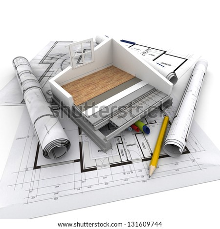 Technical details of home construction - stock photo