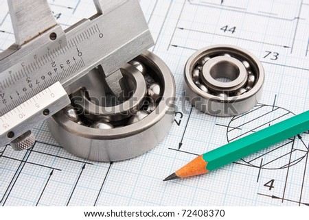 technical drawing and caliper with bearing