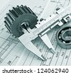 technical drawing and pinion with bearings - stock photo