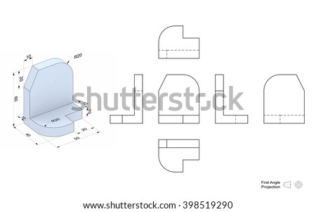 Technical drawing of a 3D model with a perspective and orthogonal views. First angle projection method. Part of a series. - stock photo