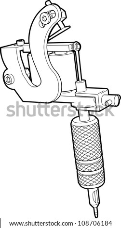 Technical drawing of a tattoo machine. All lines converted to shapes and welded or united into one continuous shape. - stock photo