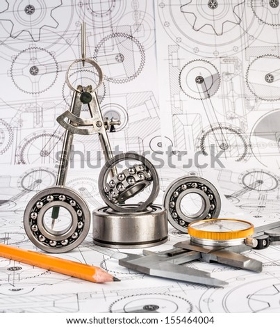 Technical drawings with the Ball bearings - stock photo