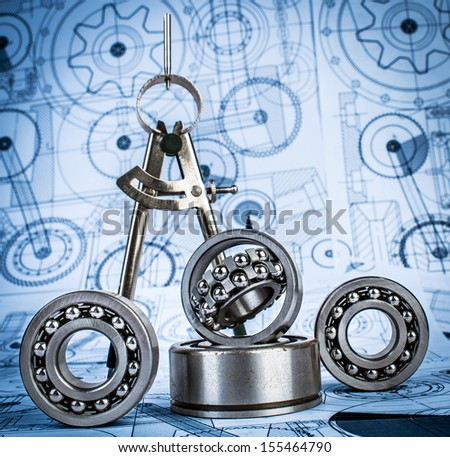 Technical drawings with the Ball bearings a blue toning - stock photo
