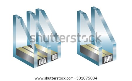 Technical illustration with element of window - glass - stock photo
