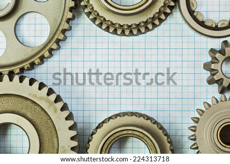 Technical subject is on the background millimeter paper - stock photo
