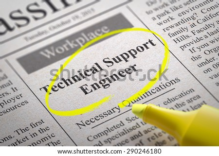 Technical support engineer vacancy newspaper job stock technical support engineer vacancy in newspaper job search concept sciox Image collections