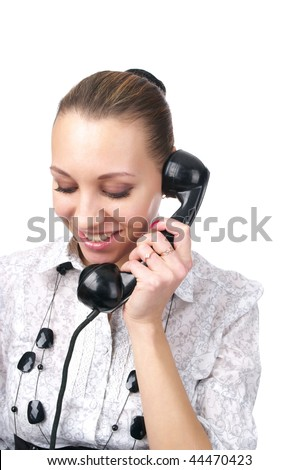 Technical support operator talking old-fashioned phone over white background